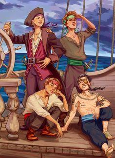 by @a_honeyboy (inspired by @taecumbiero) | bts pirates/mermaid!au