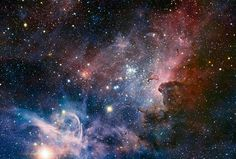 This panorama of the Carina Nebula, a region of massive star formation in the southern skies, was taken in infrared light using the HAWK-I camera on ESO¿s Very Large Telescope. The Carina Nebula lies in the southern part of our own galaxy, the Milky Way, 7500 light years from our planet. The glowing cloud of gas and dust is a 'nursery' of huge young stars.