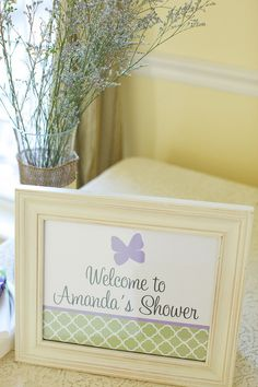 Butterfly Baby Shower - PRINTABLE Welcome Sign - The TomKat Studio. $8.50, via Etsy.