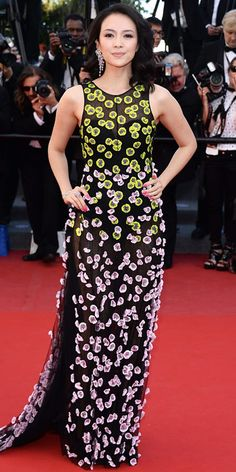 Zhang Ziyi in a Christian Dior gown, Christian Louboutin heels, and Chanel jewelry.