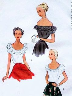 1940s Romantic Blouse Pattern McCall 7638 Scoop Neck or Off the Shoulder with Optional Ruffles Peasant Blouse 3 Bohemian Style Versions Vint...