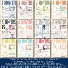 Month to Month Stats Bundle Monthly Baby by SquishyDesignsbyMe