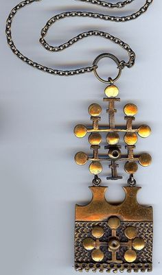 "Pentti Sarpaneva for Turun Hopea, ""Lehti"" series, vintage modernist bronze necklace, 1970s. #Finland   finlandjewelry.com"