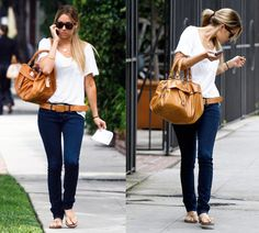 casual. love her bag.