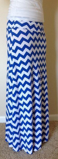 Royal blue and white Chevron maxi skirt summer by SeasonsApparel, $45.00