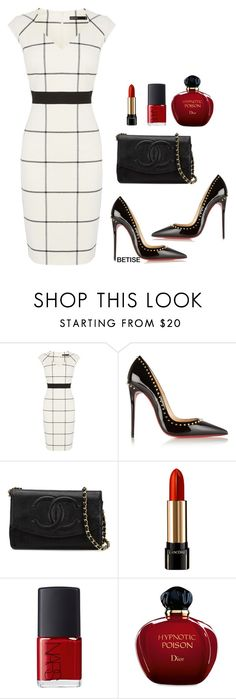 WHITE & BLACK !!! by betty-sanga on Polyvore featuring Karen Millen, Christian Louboutin, Chanel, Lancôme, Christian Dior and NARS Cosmetics