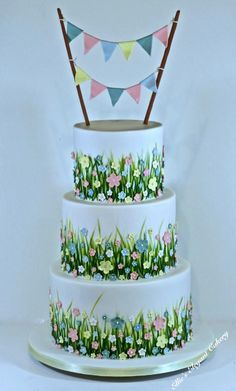 Summer meadow wedding cake 2 by Ellie @ Ellie's Elegant Cakery - http://cakesdecor.com/cakes/246142-summer-meadow-wedding-cake-2