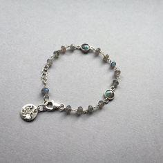 Labradorite Charm Bracelet Dainty Moon Bracelet by BitsofSilver