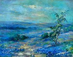 Virginia Betts - Texas Landscape with Bluebonnets, 1927 Oil Painting App, Oil Painting For Beginners, Blue Bonnets, Plein Air, Love Art, Landscape Paintings, Art Photography, Sculptures, Artsy