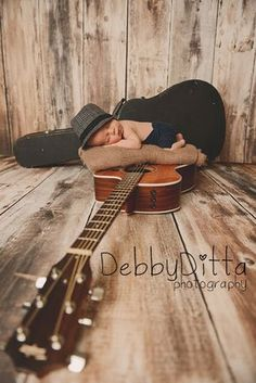Guitar musician music newborn debby ditta photography: mason at 19 days old newborn baby boy Newborn Bebe, Foto Newborn, Newborn Baby Photos, Baby Poses, Newborn Shoot, Newborn Pictures, Baby Boy Newborn, Newborn Cowboy, Maternity Pictures