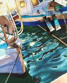 Julia Barminova  WATERCOLOR (@juliabarminova) в Instagram: «New artwork from Cyprus in process  #jb_sea Из последней поездки на Кипр я привезла многo.. #aquarela #watercolor #underwater #submerge #art #paint #painting #draw #drawing #light #girls #wave #sea #boat #ship #blue #illustation #inspiration #вдохновение #рисунок #акварель #лодка #море