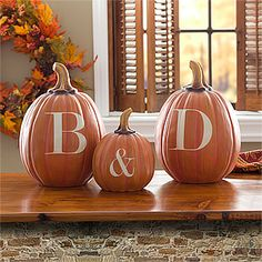 These personalized initial pumpkins are so cute and would be perfect to use as decorations for a Fall Wedding! ... also a cute wedding gift idea or just as home decor for a newlywed's home! #Wedding #Pumpkin