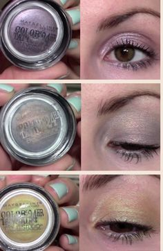 Maybelline Color Tattoo Eyelid Swatches for lavish lavender, seashore frosts, shady shores
