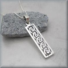 Celtic Knot Necklace Sterling Silver Bar Pendant Irish Jewelry Rectangle (SN657). $24.00, via Etsy.