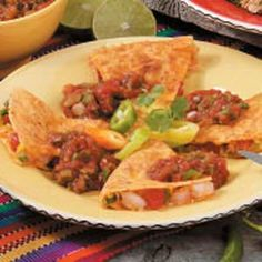 Shrimp Quesadillas Recipe -For variety, substitute cooked chicken or ground beef for the shrimp in these easy quesadillas, suggests Joan Schroeder from Pinedale, Wyoming. Entree Recipes, Fish Recipes, Seafood Recipes, Mexican Food Recipes, Vegetarian Recipes, Cooking Recipes, Healthy Recipes, Ethnic Recipes, Mexican Cooking