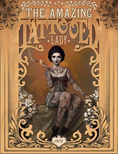 The Amazing Tattooed Lady Art Print by Rudy Faber