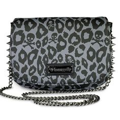 """Skull Leopard Spike"" Crossbody Bag by Loungefly (Black) #InkedShop #purse #leopard #spikes #bag #style #fashion #skull"