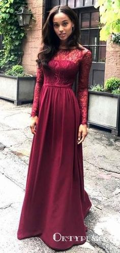 5fb289f45db800 Red Scoop Neck Long Sleeve A Line Satin Bridesmaid Dresses With Lace