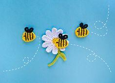 Bee and Flower Applique Crochet Pattern