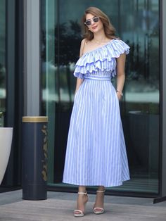 SheIn offers Oblique Shoulder Vertical Striped Layered Frill Dress & more to fit your fashionable needs. Stylish Dresses, Stylish Outfits, Casual Dresses, Short Dresses, Summer Dresses, Sleeveless Dresses, Frock Fashion, Fashion Dresses, Frill Dress