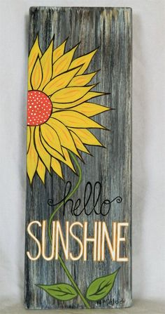 Your place to buy and sell all things handmade - Hello Sunshine Wood Sign Home Decor Spring Decor Summer Wood Signs Home Decor, Wooden Signs, Porch Signs, Pallet Art, Porch Decorating, Painting On Wood, Wood Paintings, Fence Painting, Pallet Painting