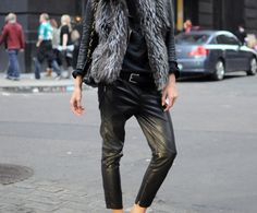 Baggy leather pant