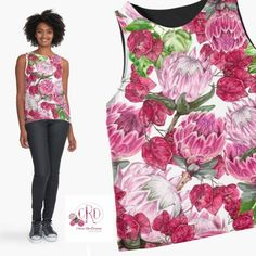 Under $33. Design by Cherie Roe Dirksen.  #tops #cutetops #proteas #patterns #flowers #fashion