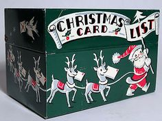 Vintage 1950s Tin Litho Stylecraft Christmas Card List Box w Santa Reindeer | eBay