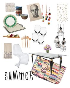 """""""Eclectic outdoor dining"""" by bellesandbeaus ❤ liked on Polyvore featuring interior, interiors, interior design, home, home decor, interior decorating, nuLOOM, Rosa & Clara Designs, Lenox and Dot & Bo"""