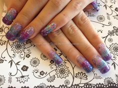 Found another great nail design, re pin and share for others ((TAB)) Full set if acrylic nails with multicoloured glitter