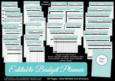 ALL 7 COLOURS EDITABLE Budget planner printable Household Binder Chevron debt savings banking tax account template Finance money management Budget Binder, Monthly Budget, Weekly Budget, Chico California, American Pit, Spending Tracker, Dollar Shave Club, Household Binder, Household Notebook