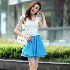 Women's Summer Beading Round Neck Lace Chiffon Stitching Short Sleeve Dress (Random Pattern) – USD $ 25.89
