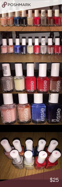 NINE ESSIE NAIL POLISHES!!!💅🏽💅🏽 Nine Essie nail polish set, 7 of which have never been used!!! •• note that the blue and grey polishes have been used (made visible in pictures). I do not need these anymore, as I truly don't paint my nails. I have so many nail polishes I will be listing / including as FREE GWPs for my loyal customers!!!👑💎🙆🏽💅🏽 These retail for $10+ EACH!!!! Don't miss out on this!!!! I need them GONE!!!! Essie Other