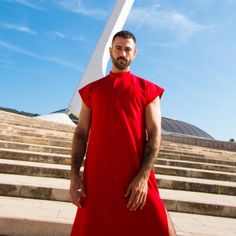 You're a high priest of fashion, and it's time you dressed the part. Our Red Dress is a full-length fashion vestment with short sleeves and side slits up the. I See Red, Short Sleeves, Short Sleeve Dresses, High Priest, Basic Outfits, Clothing, How To Wear, Men, Fashion