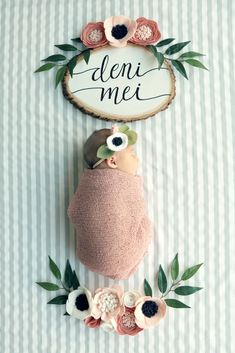 Our sweet girl, Deni Mei  Newborn photography, baby girl, flowers, anemone, pink baby swaddle, wood name sign, baby photography