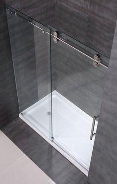 """Aston - SDR978 60"""" Frameless Clear Glass Sliding Shower Door (http://www.astonbath.com/sdr978-60-frameless-clear-glass-sliding-shower-door/)"""