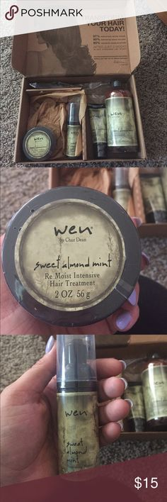 Wen, by Chaz Dean hair car kit! Brand new!! In original package. Includes hair treatment, mousse, anti-frizz cream and cleansing conditioner. All are in a sweet almond mint scent. Unopened- includes pump for the conditioner. Was sent to me as a gift but unfortunately I'm allergic to almond. Wen Accessories Hair Accessories
