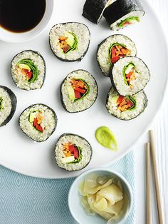 Using quinoa instead of rice means these rolls are higher in protein. We've kept them vegan too, no fish means leftovers will keep for a healthy lunchbox the next day. | Vegan, dairy free, gluten free, and vegetarian. | Click for healthy recipe. | Via Olive Magazine