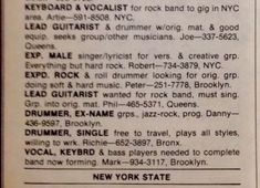 1972 Rolling Stone ad placed by Peter Criss, who was recruited to join KISS soon after.