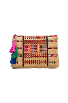 Star Mela Peri Embroidered Purse in Natural & Red | REVOLVE