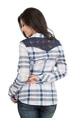 Tin Haul Women's Navy Plaid with Crochet Yoke Long Sleeve Western Snap Shirt | Cavender's