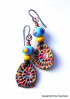Uniquely organic artisan  earrings...lightweight, fun, and full of sun and color!  By Two Trees Studio.