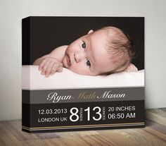Baby Birth Announcement Canvas Baby Stats Nursery Wall by MummyPic