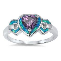 925 Sterling Silver 0.44 Carat Heart Shape Amethyst Blue Fire Australian Lab Opal Ring Excellent Love Gift for Girlfriend Wife Ladies