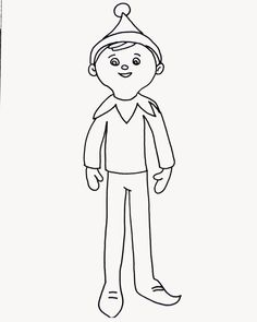 Elf on the shelf coloring page. | H-Elf on the Shelf Ideas ...