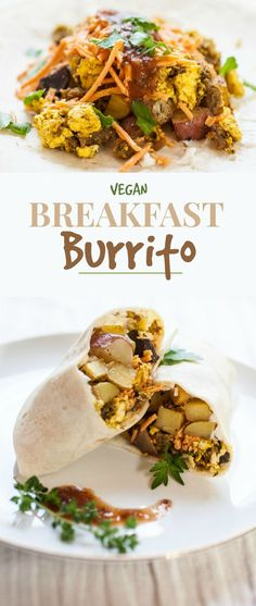 Produce On Parade - Vegan Breakfast Burritos - An insanely delicious and easy vegan breakfast burrito loaded with roasted potatoes, seasoned tofu scramble, browned breakfast patties, and cheddar cheese.