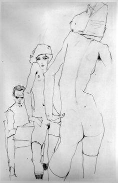 Egon Schiele - Autoportrait avec modèle nu devant le miroir - 1910 - Crayon - Mouvement Expressionniste
