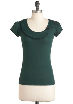 Sock Hops and Dreams Top in Green | Mod Retro Vintage Short Sleeve Shirts | ModCloth.com