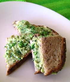 Green Baby Sandwich- 1 slice whole grain bread, 1/4 avocado, 2 T hummus, several broccoli crowns