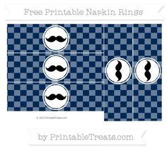 Free Navy Blue Checker Pattern Mustache Napkin Rings